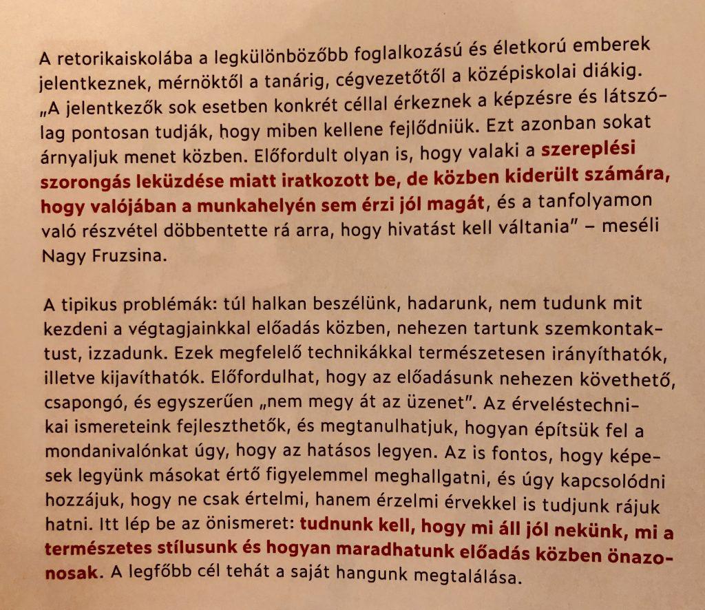 Az ÉVA magazin riportot készített dr. Nagy Fruzsináról és a Szónok Születik Retorikaiskoláról